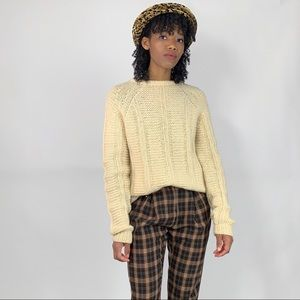 Vintage Hand Knit Cream Wool Sweater